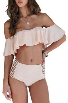 3d8f157e49d84 New Arrival Off the Shoulder Ruffle Hem Hollow Out High Waist Bottom Plain Bikini  Swimwear