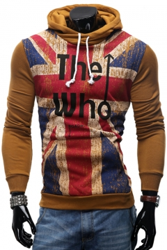 Fashion THE WHO Letters UK Flag Printed Long Sleeve Mens Casual Drawstring Hoodie