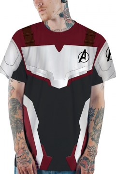 Avengers Quantum Battle Suit Short Sleeve Unisex Casual Loose Black and Red T-Shirt