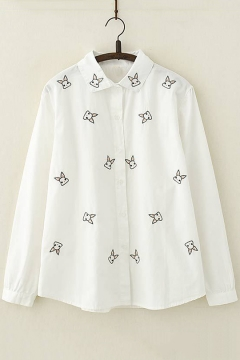 f52d29ee76f9d9 Cartoon Allover Rabbit Embroidered Long Sleeve Loose Cotton White Shirt