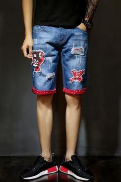c2e0aecdd8 Summer Guys Unique Cartoon Printed Distressed Ripped Rolled Cuff Blue  Casual Denim Shorts