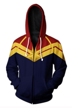 Captain Marvel 3D Fashion Pattern Long Sleeve Cosplay Costume Blue Zip Up Hoodie