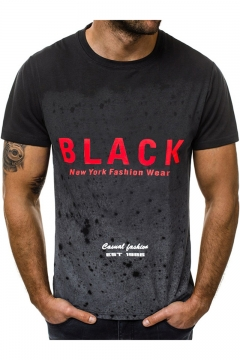 Summer Fashion Simple Letter BLACK Ombre Color Fitted T-Shirt for Men
