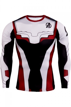 Hot Fashion Avengers Endgame Quantum Battle Suit Long Sleeve Round Neck Cosplay White Fitted T-Shirt
