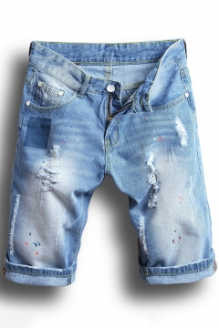 ed13a9635b Summer Men's New Stylish Destroyed Ripped Rolled-Cuff Light Blue Fit Jeans  Denim Shorts