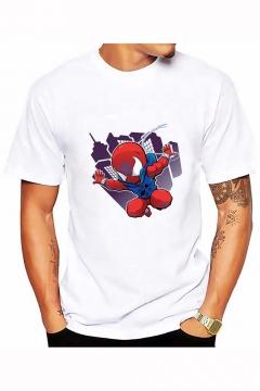 08504ee43 Summer New Fashion Cartoon Spider-Man Print Basic Round Neck Short Sleeve  White T- 25% off