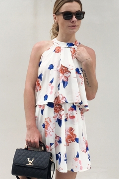 Women's Sexy Floral Printed Halter Sleeveless Crop Tank with Elastic Waist Loose Shorts Chiffon Co-ords