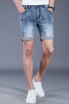 a0a58e6bc0 Men's Summer New Trendy Rolled Cuff Ripped Detail Light Blue Slim Fit Denim  Shorts