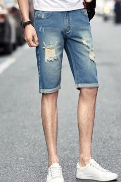 cfc5cf9c92 Mens Summer Cool Fashion Ripped Detail Rolled Cuff Slim Fit Denim Shorts