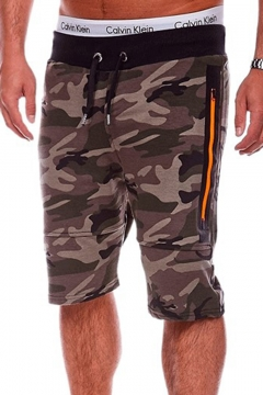 Summer Trendy Camo Print Drawstring-Waist Zip Pockets Fitness Running Shorts Sweat Shorts for Men