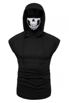 Unique Cool Skull Mask Hooded Sleeveless Summer Fitted Tank T-Shirt for Men