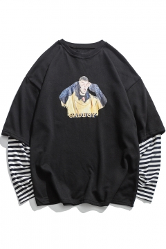 7634c56c51f0 Fake Two-Piece Round Neck Long Sleeve Striped Figure Letter Print Unisex  Pullover Sweatshirt