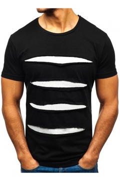Mens New Fashion Cool Ripped Hole Detail Summer Basic Plain T-Shirt