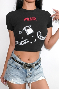 3463c9c8d933e KILLER Letter Chains Printed Short Sleeve Slim Fit Black Cropped T-Shirt