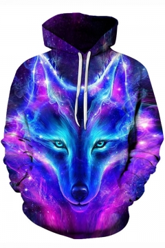 New Stylish Unique 3D Galaxy Wolf Printed Sport Casual Long Sleeve Unisex Hoodie in Purple
