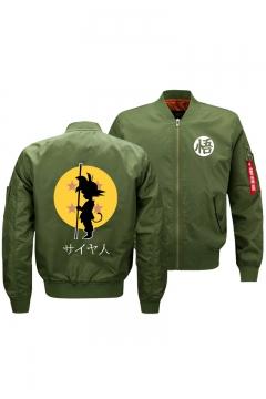 Mens New Trendy Comic Print Stand Collar Zip Up Bomber Jacket