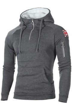 New Stylish Flag Applique Shoulder Long Sleeve Half-Zip Front Fitted Hoodie for Men