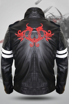 Prototype Red Dragon Logo Print Stripe Long Sleeve Stand-Collar Zip Closure Game Cosplay Costume Black PU Leather Jacket
