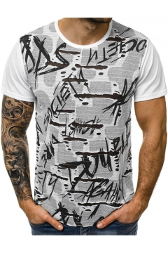 Mens Hip Hop Style Torn Ripped Letter Graffiti White T-Shirt
