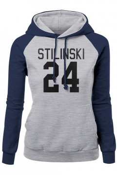 Letter Number 24 STILINSKI Printed Fashion Raglan Sleeve Colorblock Fitted Hoodie