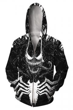 Mens Black 3D Printed Casual Loose Long Sleeve Zip Up Pullover Hoodie
