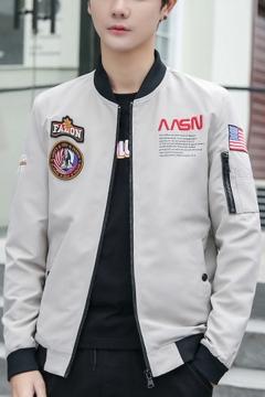 Guys Popular NASA Logo Letter Flag Applique Stand-Collar Zip Closure Baseball Jacket