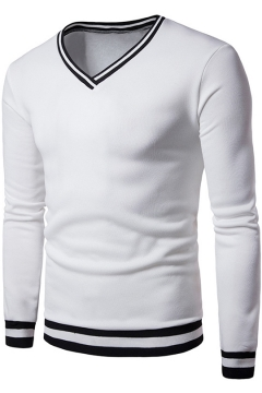 Men's New Fashion Long Sleeve V-Neck Color Block Slim Fitted Sweatshirt