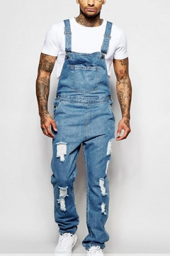 Mens Cool New Stylish Ripped Destroyed Relaxed Fit Light Blue Overall Jeans
