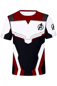 Avengers 4 Endgame Quantum Battle Suit Short Sleeve Round Neck Cosplay Red T-Shirt