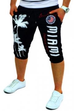 Hot Popular Drawstring-Waist Fashion Flag Letter Tree Printed Mens Sport Running Sweat Shorts