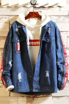 Mens Stylish Zip Letter Tape Long Sleeve Flap Pocket Front Ripped Button Down Denim Jacket