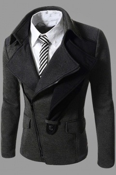 Mens Casual Lapel Collar Button Embellished Slim-Fit Oblique Zipper Jacket