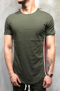 Mens New Trendy Stripe Patched Side Basic Short Sleeve Hipster Sport T-Shirt