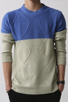 Fashion Mens Crewneck Jacquard Color Block Long Sleeve Casual Pullover Sweater