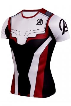 Popular Avengers Endgame Quantum Battle Suit Round Neck Short Sleeve Cosplay White T-Shirt