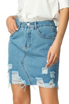 b3b6e271c8ca Summer Fashion Destroyed Ripped Frayed Hem Mini Blue Pencil Skirt Denim  Jean Skirt 23% off