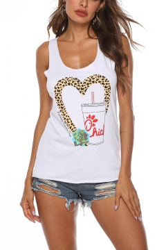 Women's Summer Fashion Heart Drink Printed Scoop Neck Sleeveless Basic White Tank Top