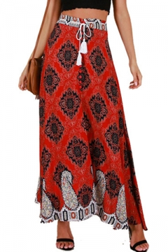 db1a23724 Summer Holiday Bohemian Style Tribal Printed Drawstring Waist Maxi Red Skirt