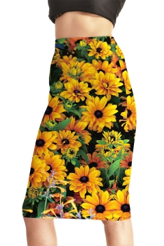 140dac0d2 Summer Fashion Yellow Sunflower Floral Print Midi Pencil Skirt for Women
