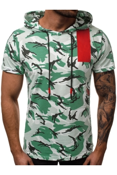 fb30cab09 Summer Cool Camouflage Pattern Short Sleeve Hooded Drawstring T-Shirt for  Men