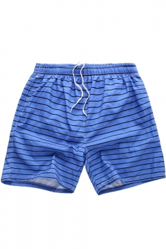 Mens Hot Fashion Summer Striped Drawstring Waist Casual Lounge Beach Shorts Swim Shorts