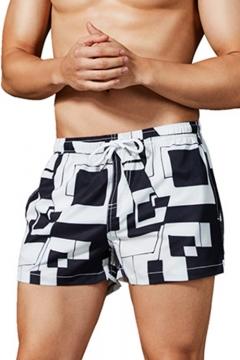 Simple Black and White Colorblock Drawstring Waist Mens Quick Dry Summer Board Shorts