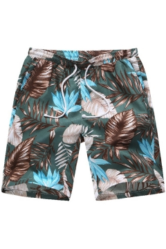 Guys Summer Green Tropical Plants Printed Casual Cotton Hawaii Beach Shorts Swim Shorts