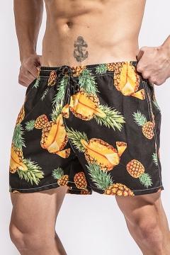 Summer Fashion Pineapple Printed Black Casual Loose Quick Dry Swim Shorts