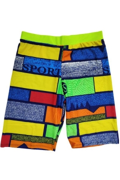 Men's New Swim Trunks Colorful Fast Drying Beach Shorts With Elastic