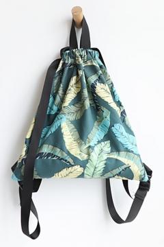 Canvas Leaves Printed Dark Green String Backpack