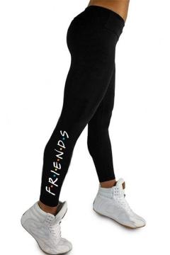 ea05b021c3616 Simple Dot Letter FRIENDS Print Quick Dry Stretch Slim Fit Black Leggings
