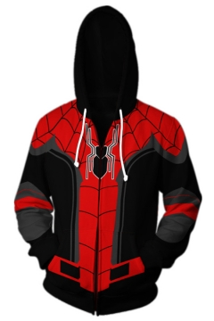 Spider Man 3D Cool Pattern Long Sleeve Red and Black Hoodie