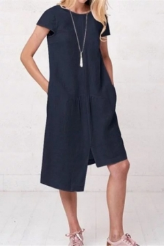 Linen Mini Dress with Round Neck and Long Sleeves Asymmetrical Linen Dress with Drawstring Neck and Bishop Sleeves