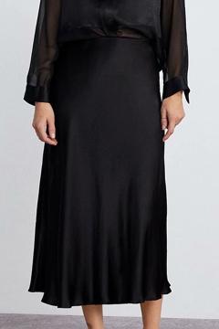 e1c8c06974 Women's New Trendy Solid Color Bias Cut Silk Satin Black Midi Skirt